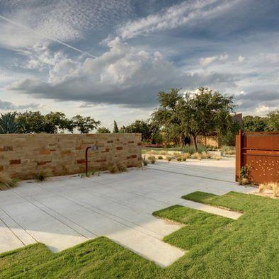 Scored Concrete Driveway Modern Driveway Driveway Design Modern Landscaping