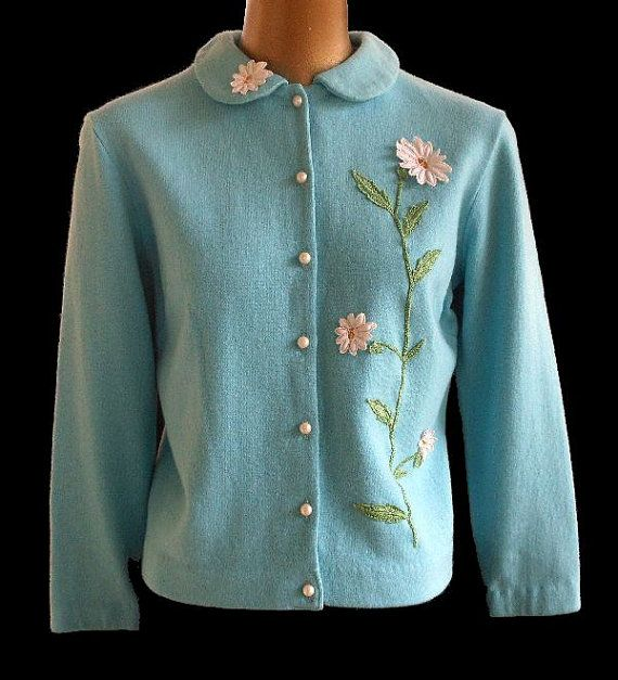 Vintage 60s Cardigan Sweater 1960s Mod Daisy Appliqued Jersey Knit Top Blouse Size M Sweaters Cardigan Girls Sweaters