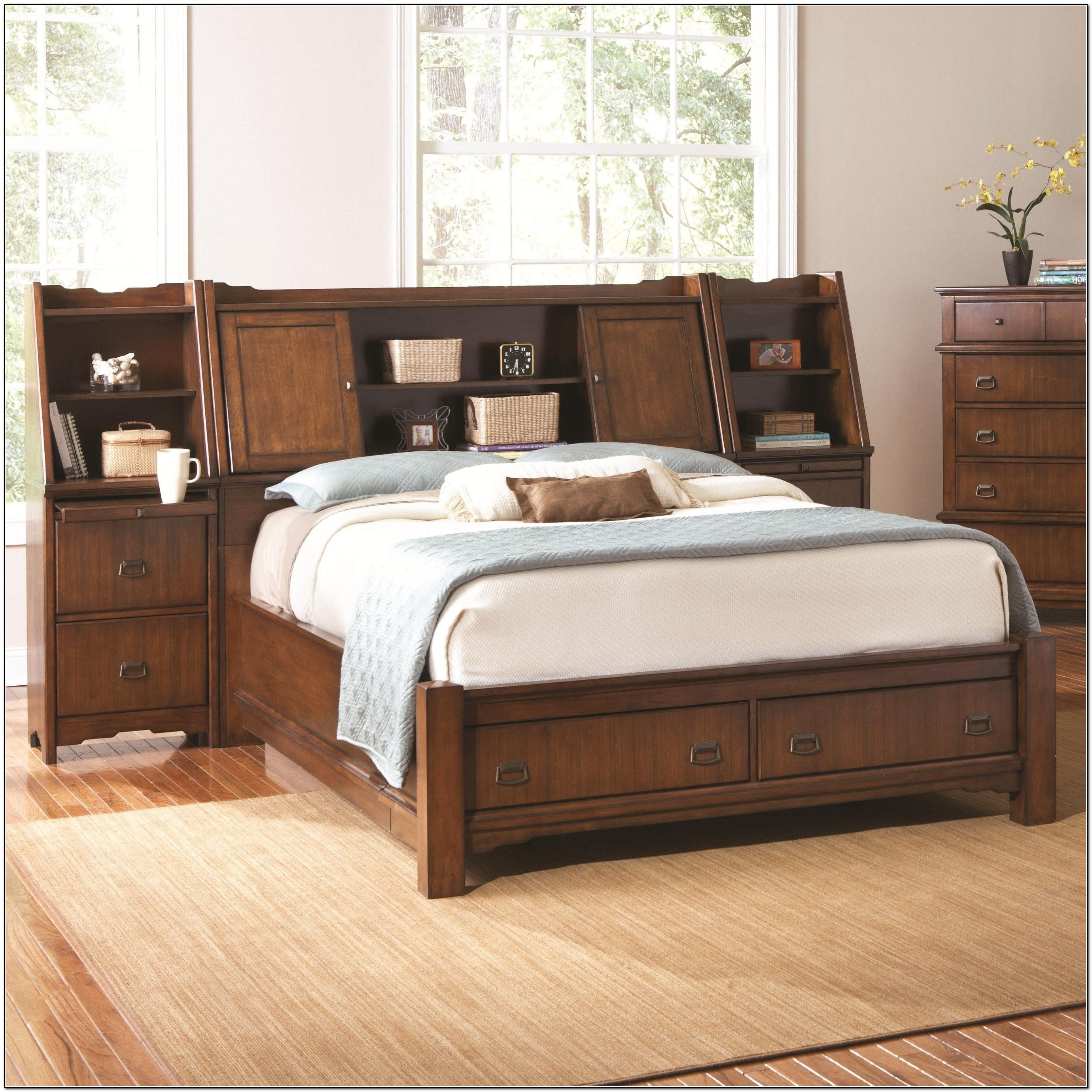 King Storage Bed With Bookcase Headboard Bedroom Furniture