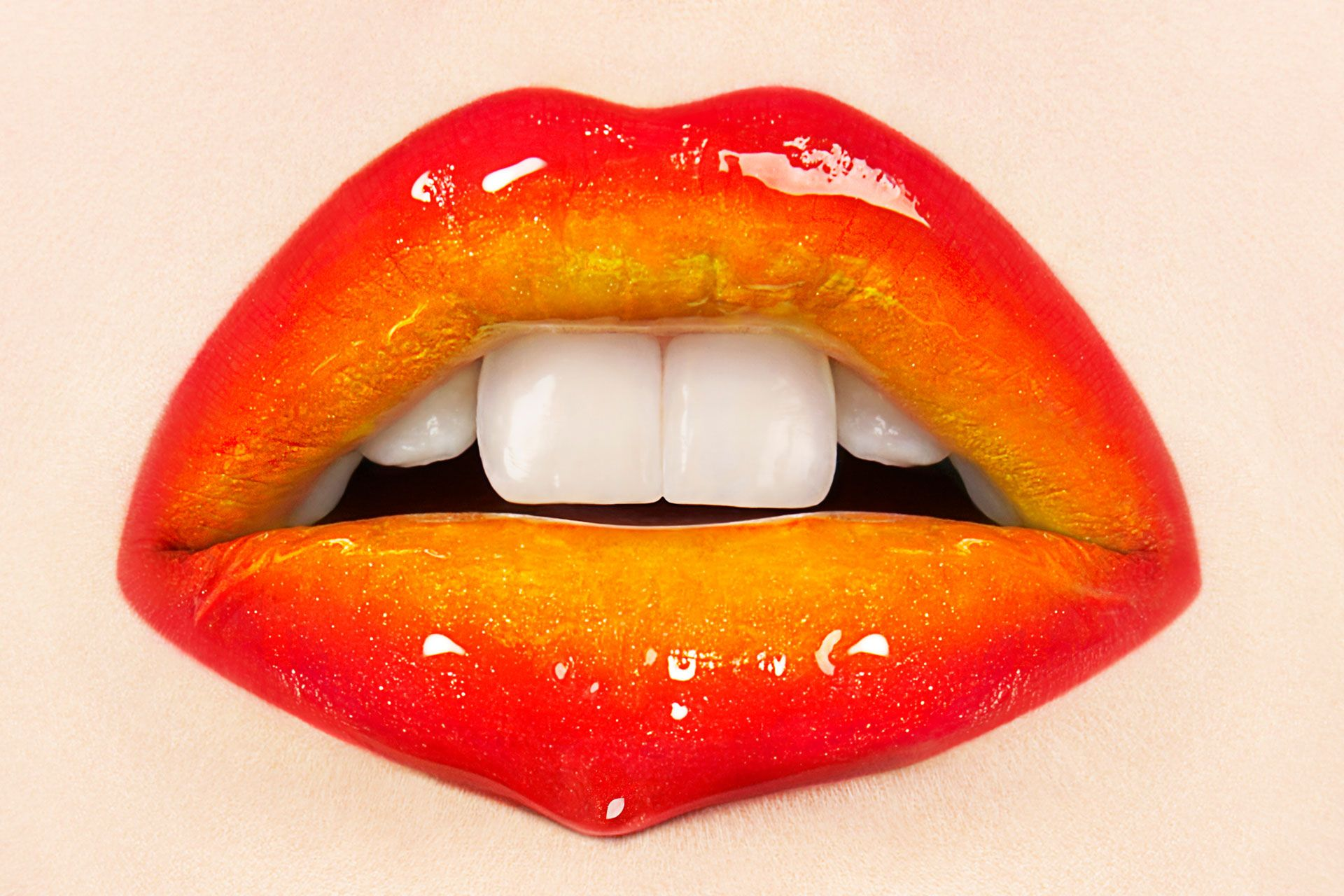 Glossy Yellow And Orange Lips Maquillage Bouche Levre Maquillage