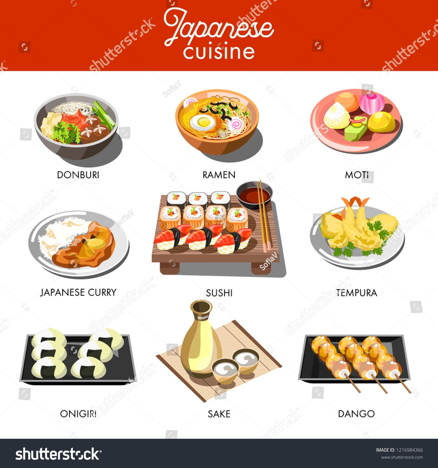 Japanese Cuisine Traditional Dishes Of Ramen And Udon Donburi Noodles Onigiri Seafood Tempura Sushi Rolls Miso Soup In 2020 Tempura Sushi Food Concept Halal Recipes