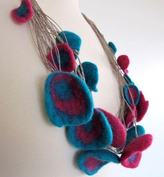 Felt Necklace Felt Unique Linen String Necklace with by FeltZone