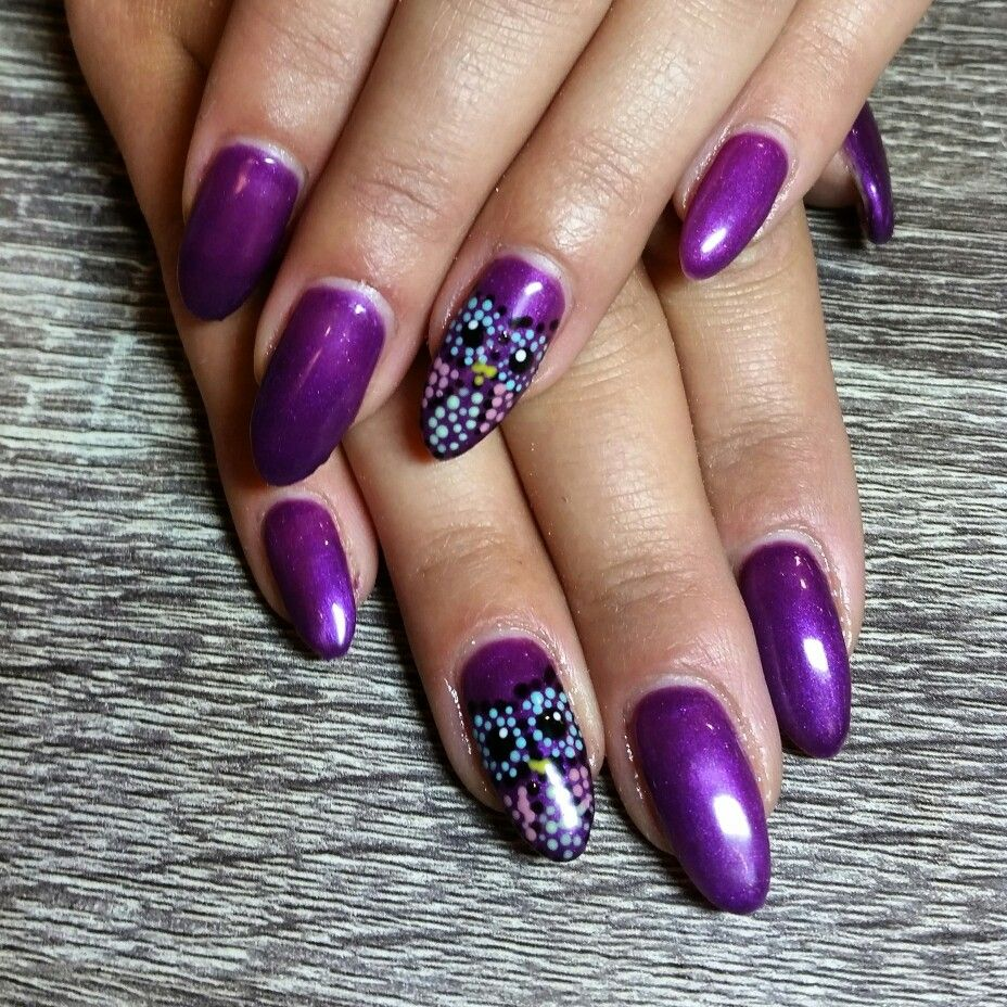 Purple owl nails. Almond nails. Nail art. Dotted owl. Owl nails. Gel ...
