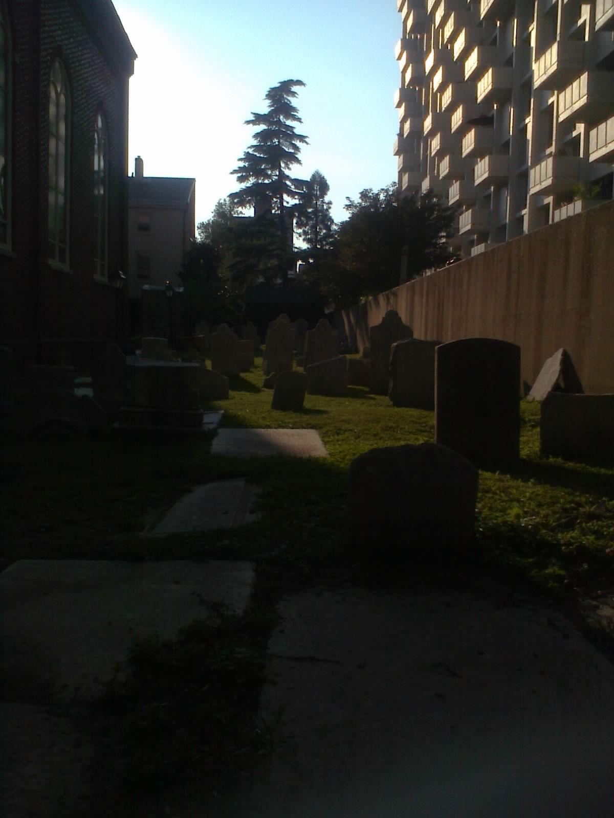 The graveyard of Holy Trinity German Catholic Church, 6th and Spruce Streets, Philadelphia.