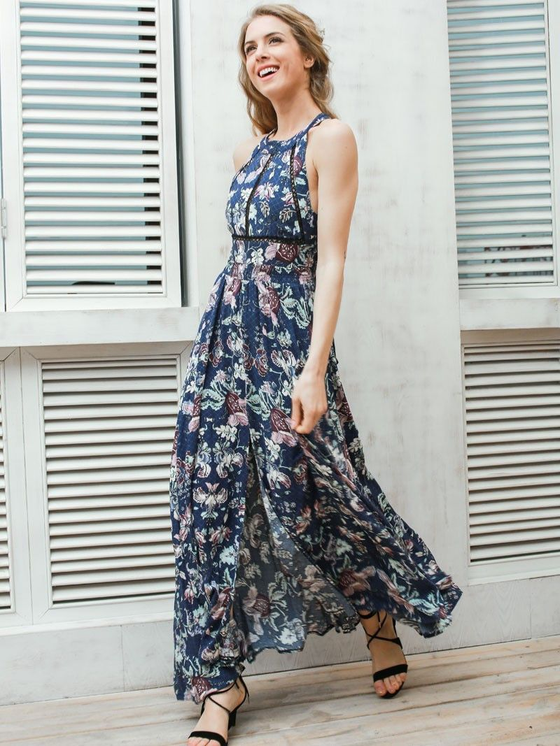Blue floral print front slit open back maxi dress bohemian and