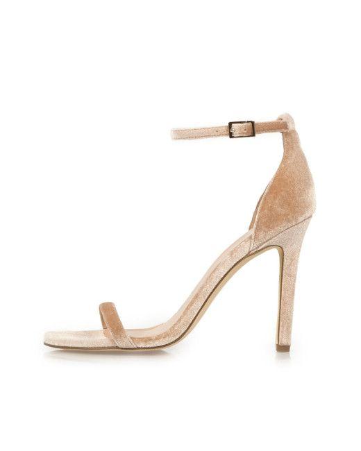 e479fbce8b Women's Natural Nude Velvet Barely There Heeled Sandals | WEDDING MODERN