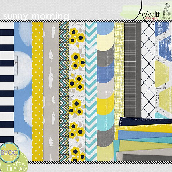 Sunny Morning Papers Digital Scrapbook Paper Pattern Paper