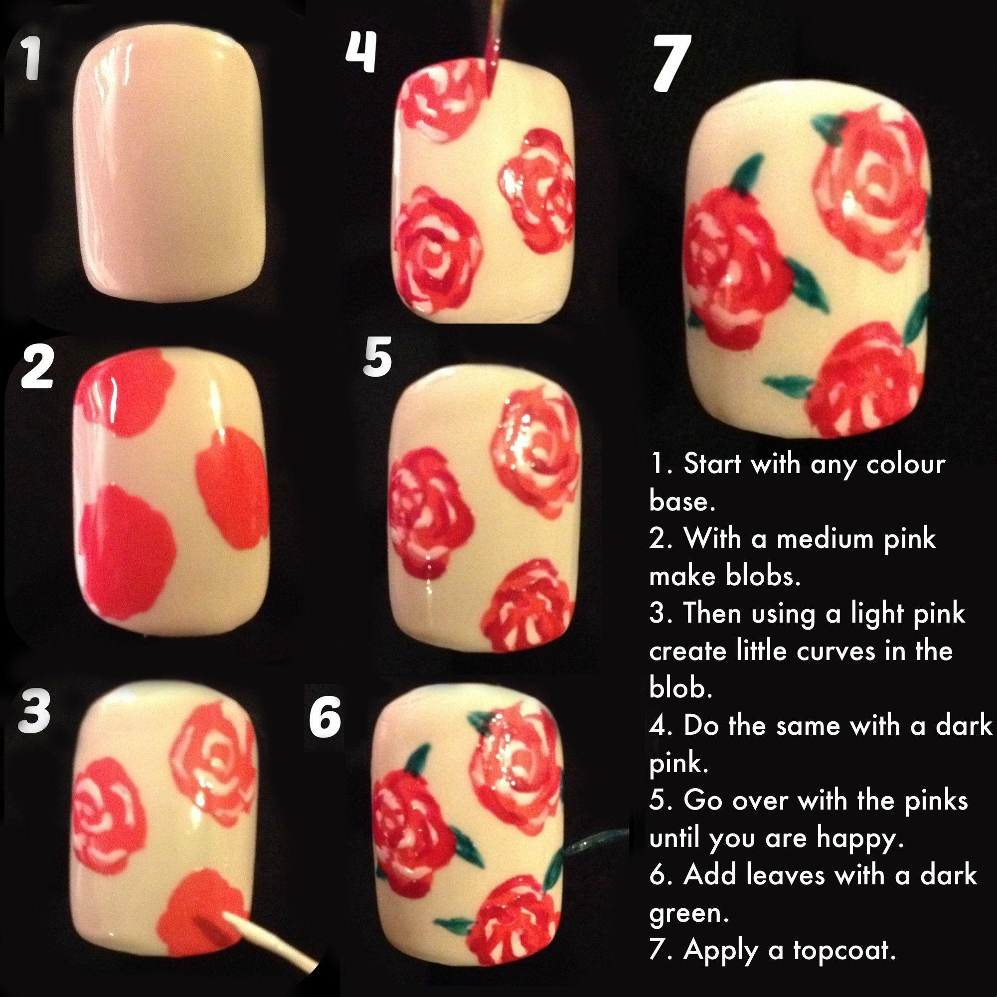 rose nails tutorial ideas