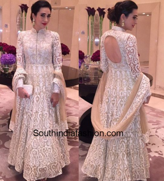 b73565ff81 Karisma Kapoor in a white anarkali 4 Indian Gowns, Indian Suits, Indian  Attire,