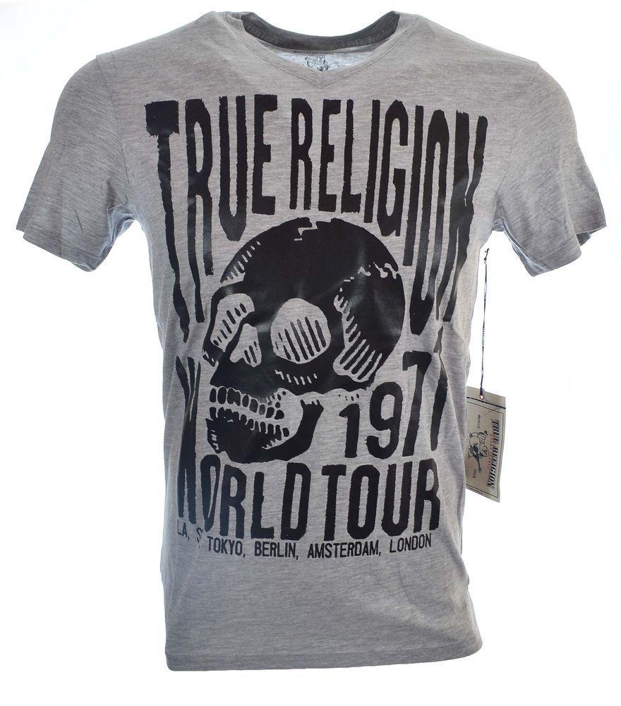 True Religion Mens T-Shirt Size M Big Skull Tour SS V Neckin Grey NWT $62.00 #TrueReligion #GraphicTee