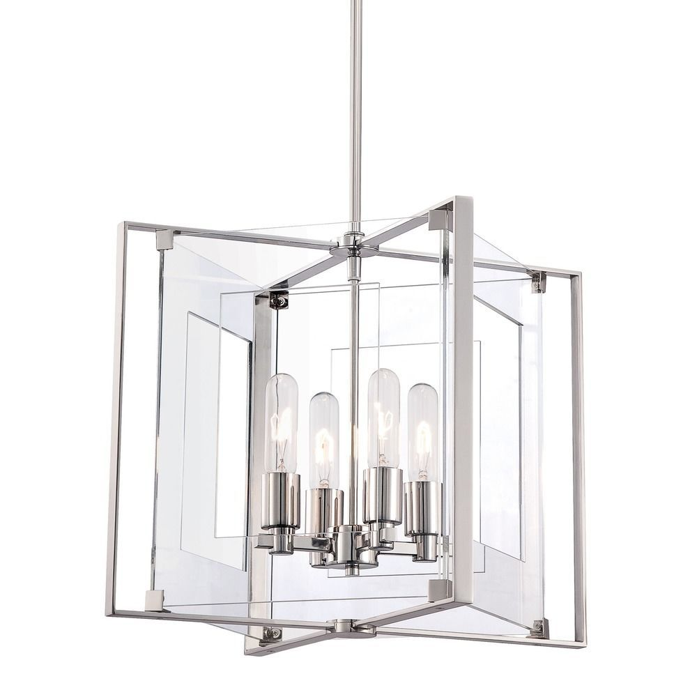 George kovacs crystal clear polished nickel pendant light with george kovacs lighting george kovacs crystal clear polished nickel pendant light with rectangle shade p1404 arubaitofo Choice Image
