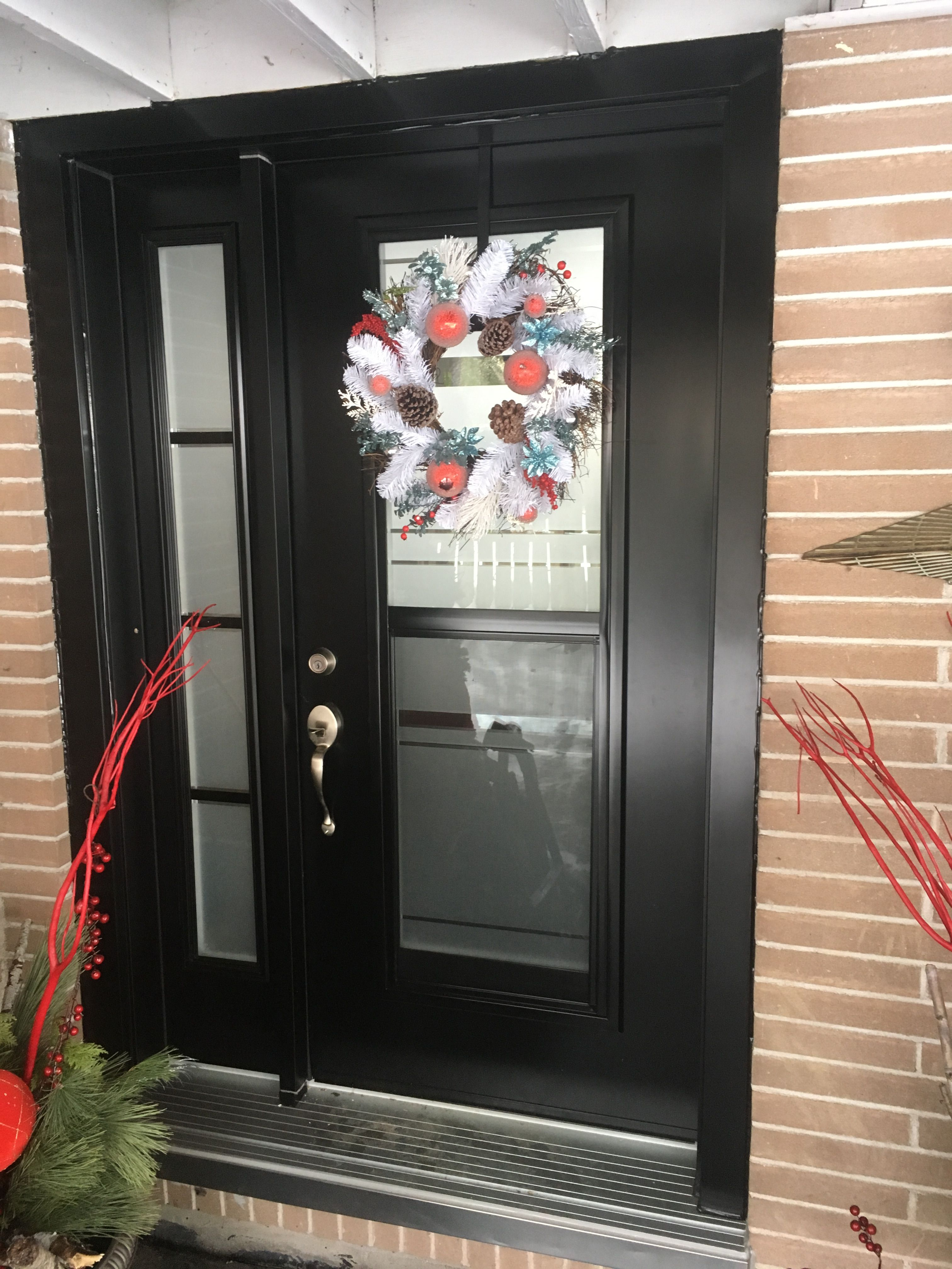 Steel Entry Door With Full Elevation Privacy Venting Door Lite And Privacy Sidelite In Black Entry Doors Steel Entry Doors Doors