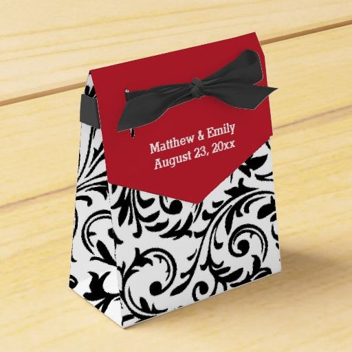Red Black White Floral Damask Wedding Favor Box
