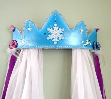 Snow Queen Royal Bed Crown Canopy Snowflake Princess Bed Crown Canopy Frozen Nursery Wall & Snow Queen Royal Bed Crown Canopy Snowflake Princess Bed Crown ...