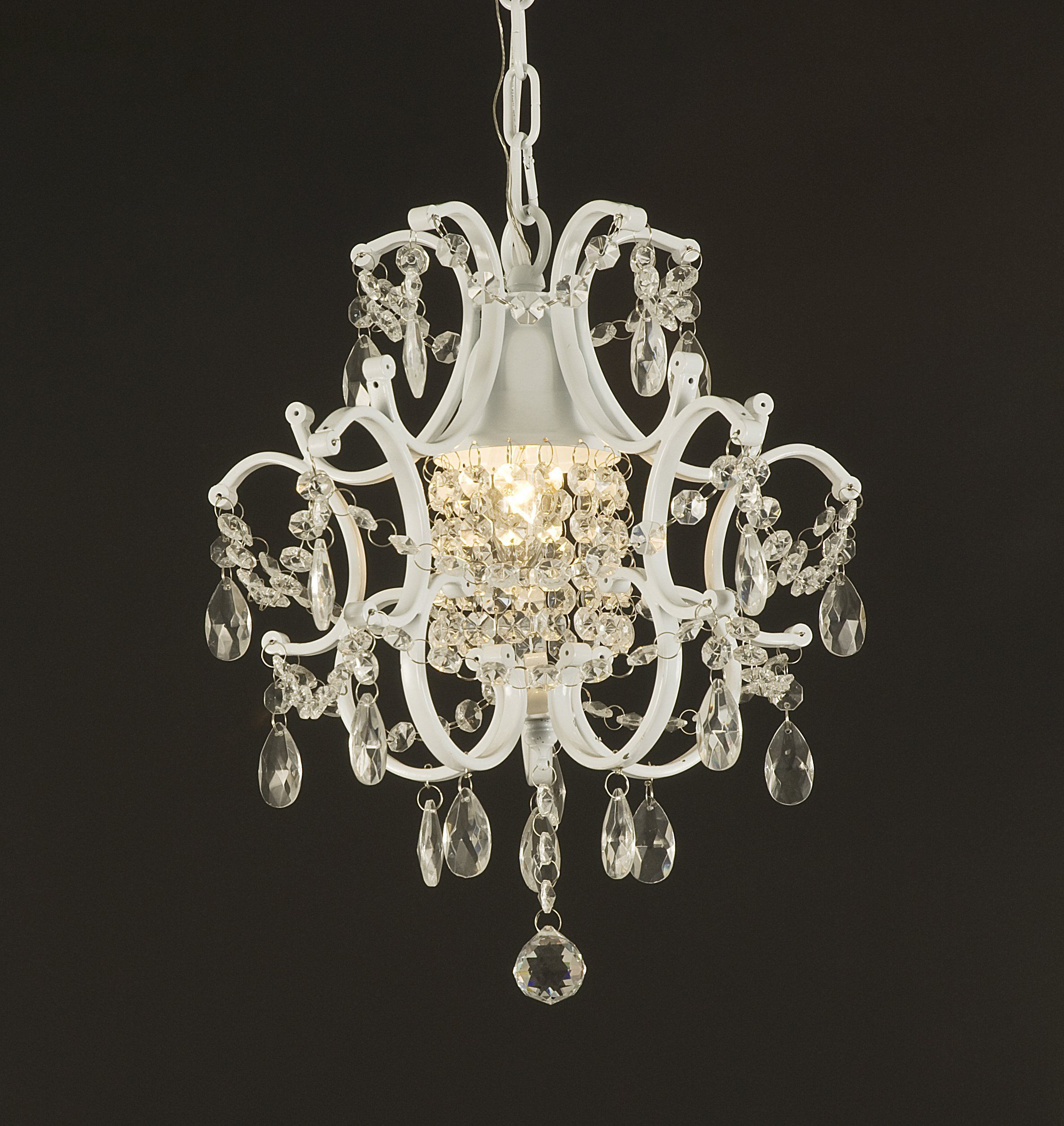 Wrought Iron Crystal Chandelier Lighting Country French White One Light Free Shipping Ceiling