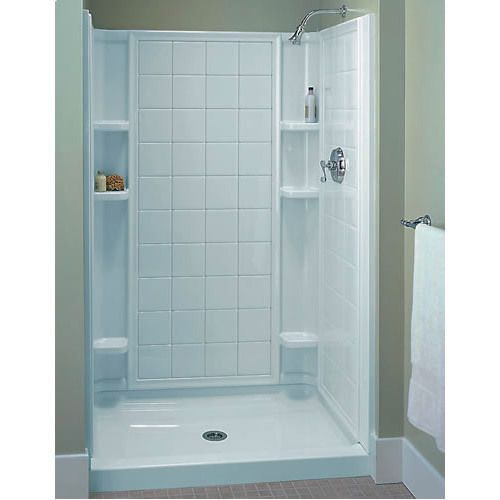 Sterling 4 piece shower stalls bathroom pinterest for Small 3 piece bathroom ideas