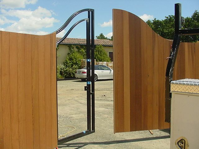Metal gate frame clad with wood part II | Gates | Pinterest | Gate ...