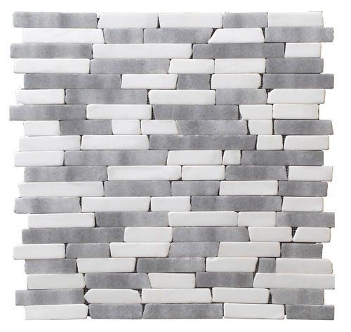 StoneSkin Dolomite and Grey Marble Peel n Stick Mosaic Tile Random
