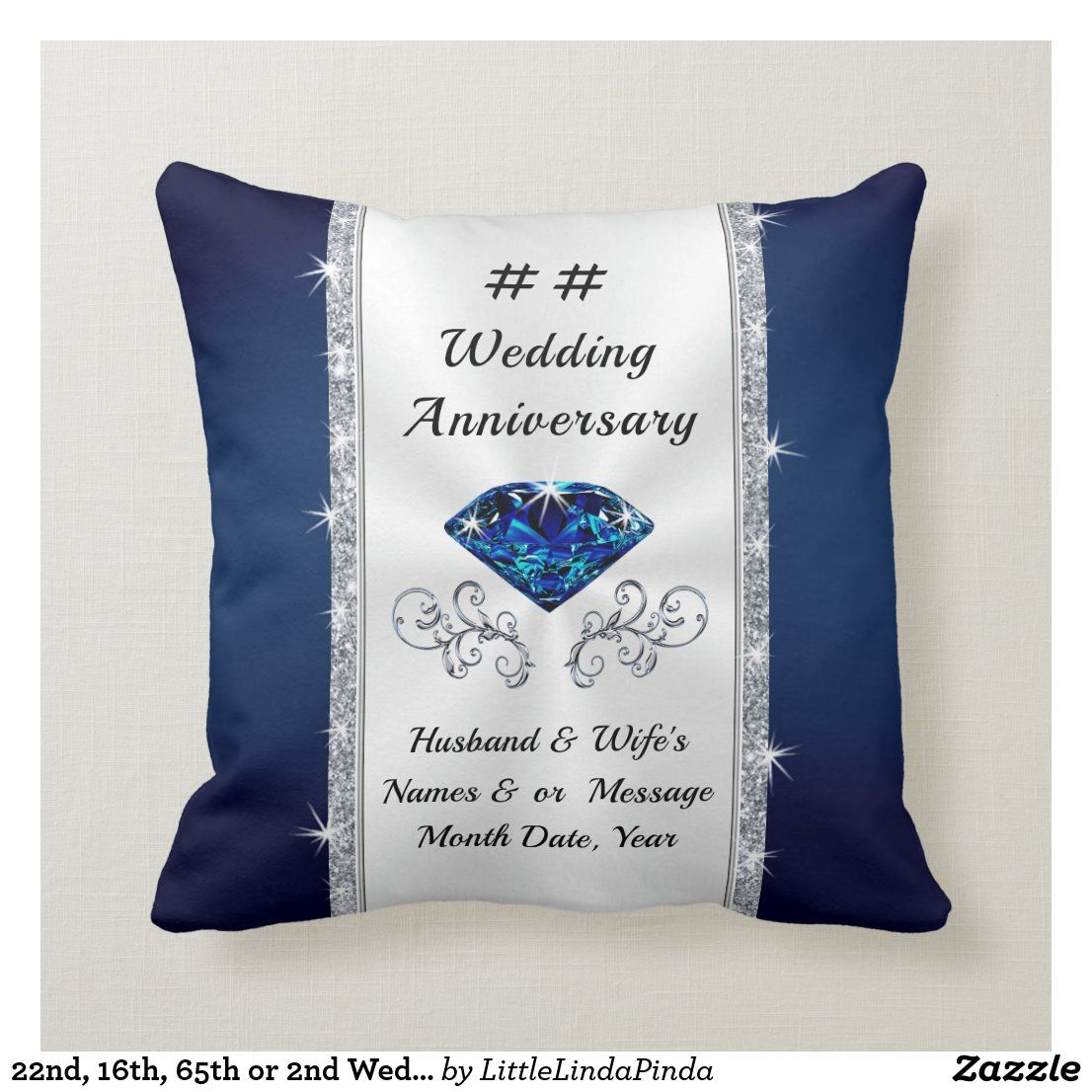22nd 16th 65th Or 2nd Wedding Anniversary Gift Throw Pillow Zazzle Com In 2021 2nd Wedding Anniversary Gift Custom Anniversary Gift 2nd Wedding Anniversary