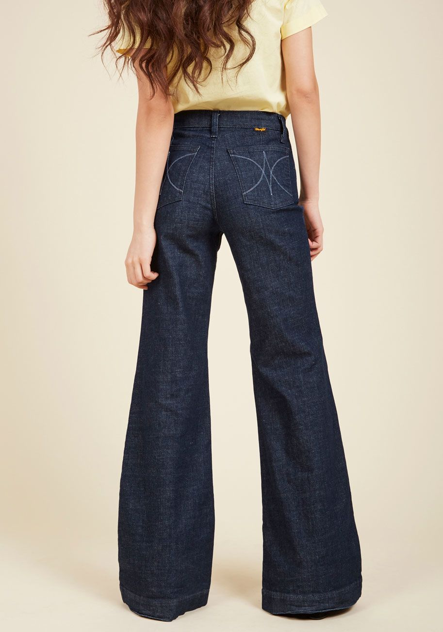 d75175a5c1 These dark wash jeans were created as a part of our ModCloth-exclusive  collaboration with Wrangler to feature front ...