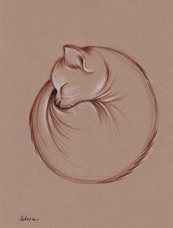 Original Enso Zen Painting Throw Pillows: Original Enso Zen Cat Drawing By Rebecca Rees