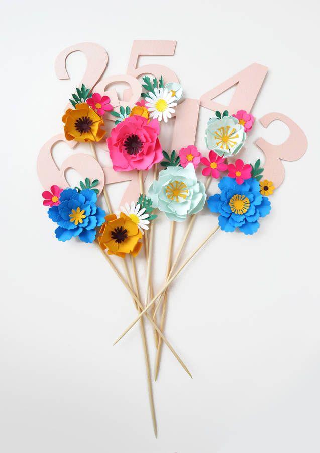 Handmade Birthday Age Paper Flower Cake Topper