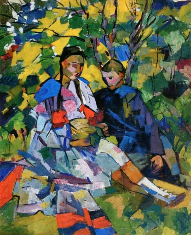Аристарх ЛЕНТУЛОВ - Дети в саду, 1918   Художники ...