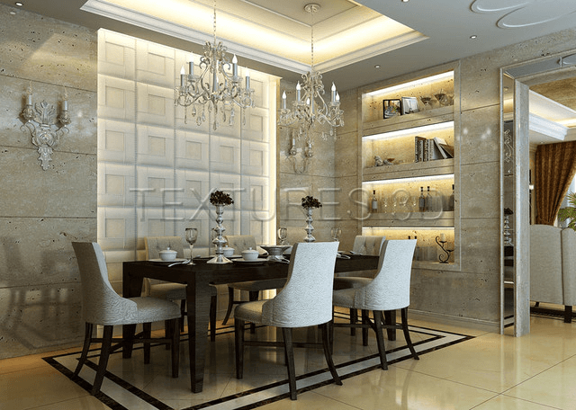 Wall Panel Decal For A Contemporary Dining Room Dining Room Images Modern Dining Room Dining Room Walls