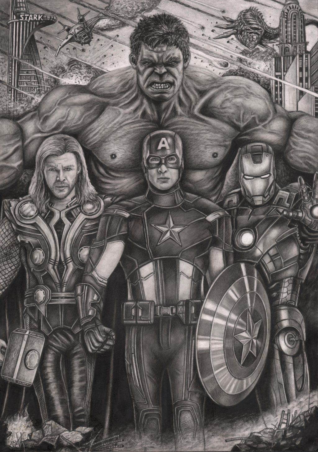 This Is Awesome The Avengers Graphite Drawing By Pen Tacular Artist Deviantart Com On Deviantart Avengers Drawings Graphite Drawings Avengers Art