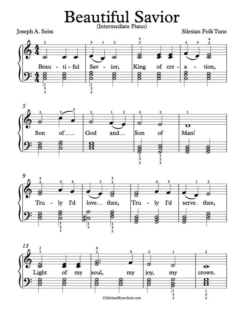 Free Intermediate Piano Arrangement Of Beautiful Savior With