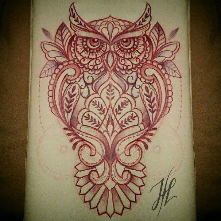 Sketching A Mandala Ornamental Owl By Marjorianne Tattoo Ideas