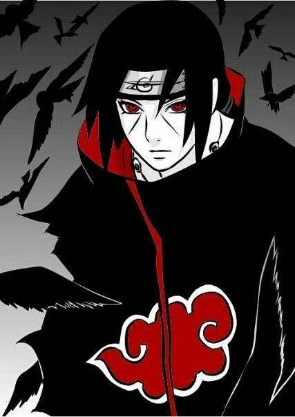 Elegant Image Of Itachi Uchiha With His Crows
