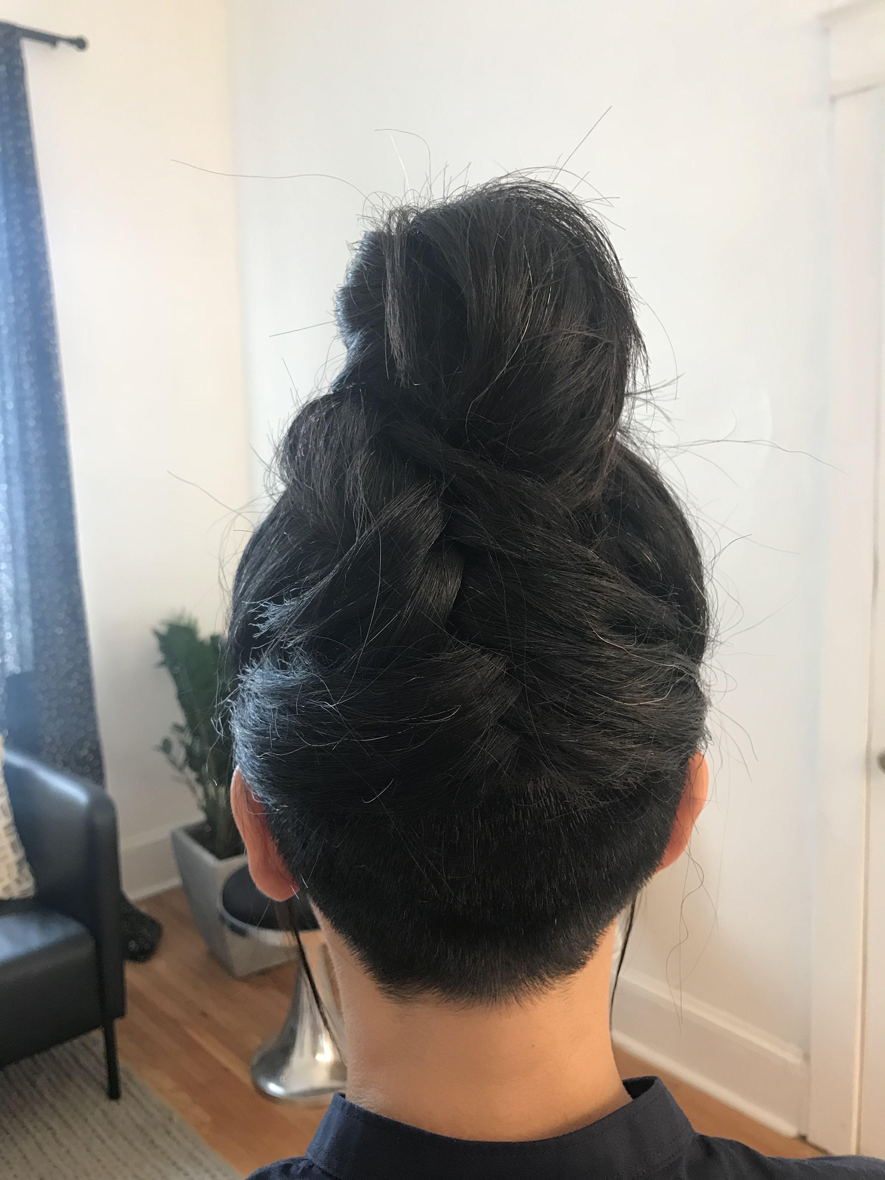 cool up do, bun, high bun, dark hair styles, updo for dark