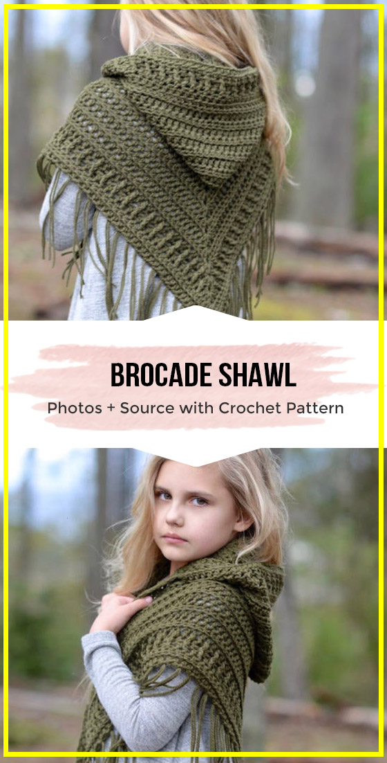 crochet The Brocade Shawl Easy pattern #shawlcrochetpattern