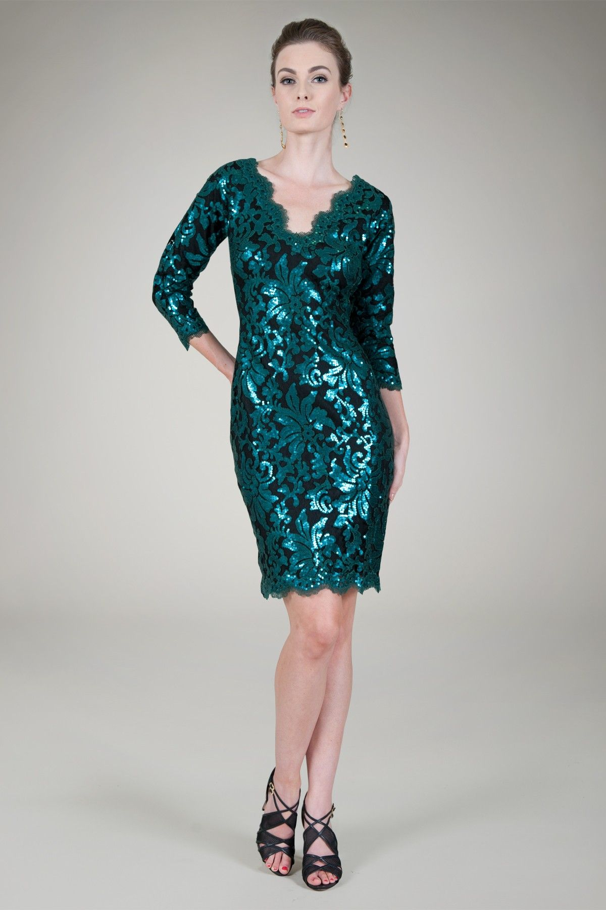 Paillette Embroidered Lace V-Neck ¾ Sleeve Dress in Seagrass ...