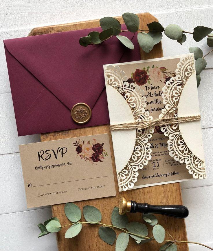 Invitación de boda de bolsillo con corte láser, Marsala Floral, rústica – #Cut #Floral #invi …