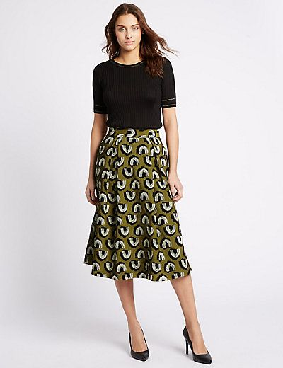 Jacquard Print A-Line Midi Skirt | M&S