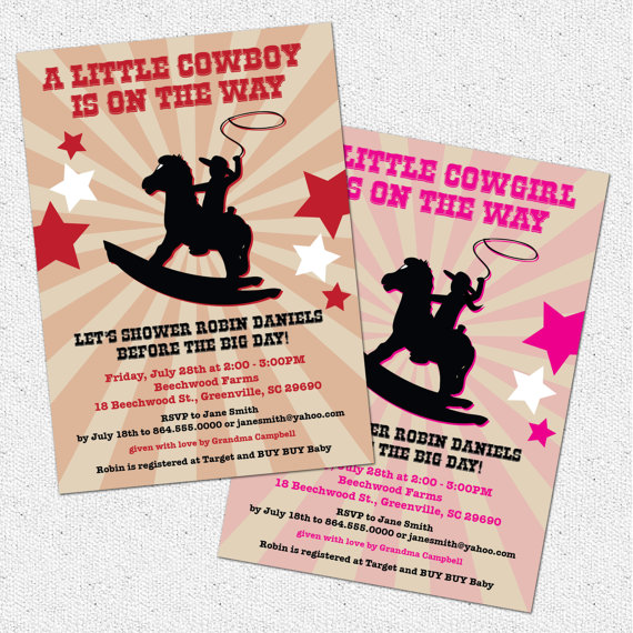 Cowboy Or Cowgirl Western Baby Shower Invitation Rocking Horse