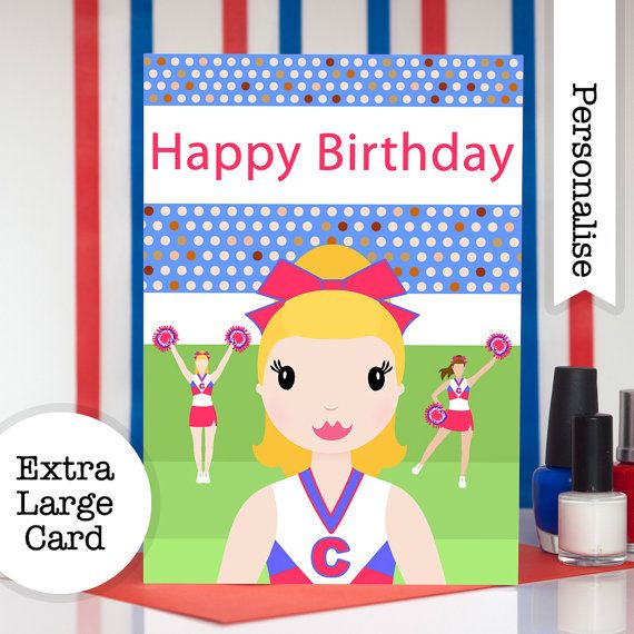 Cheerleader Queen Birthday Card Personalised Card For Girls - Childrens birthday cards for the queen