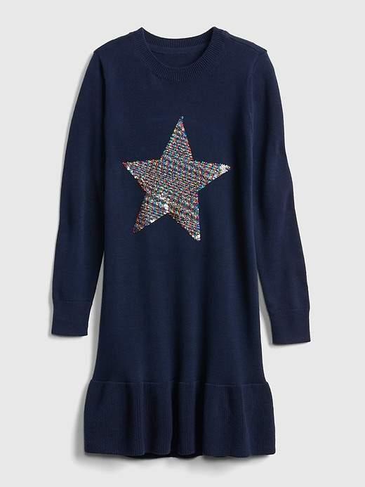 268ff47e57d3 Gap Girls  Flippy Sequin Star Dress Dark Night