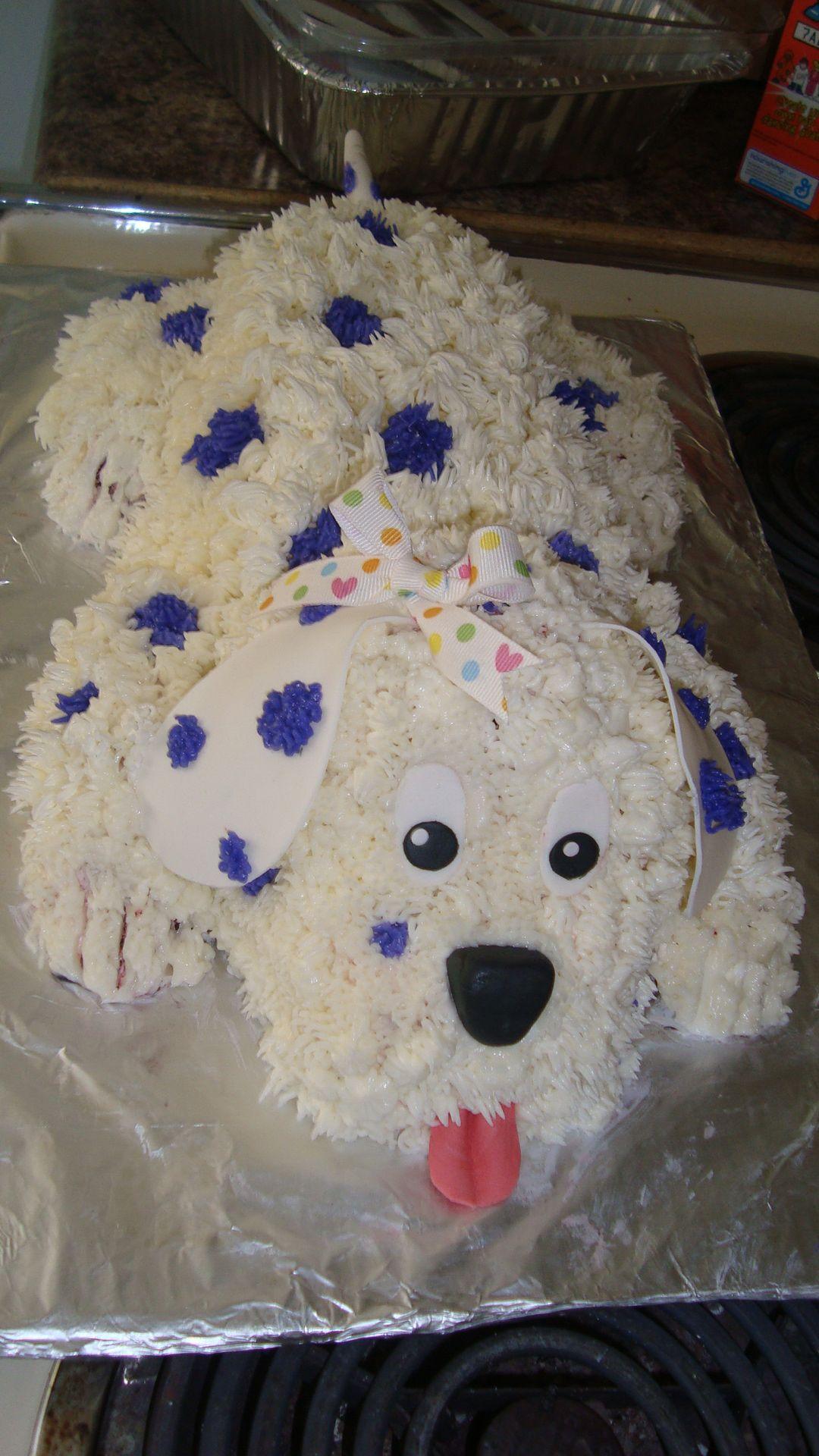Phenomenal 3D White Purple Puppy Dog Cake Puppy Birthday Cakes Dog Funny Birthday Cards Online Fluifree Goldxyz