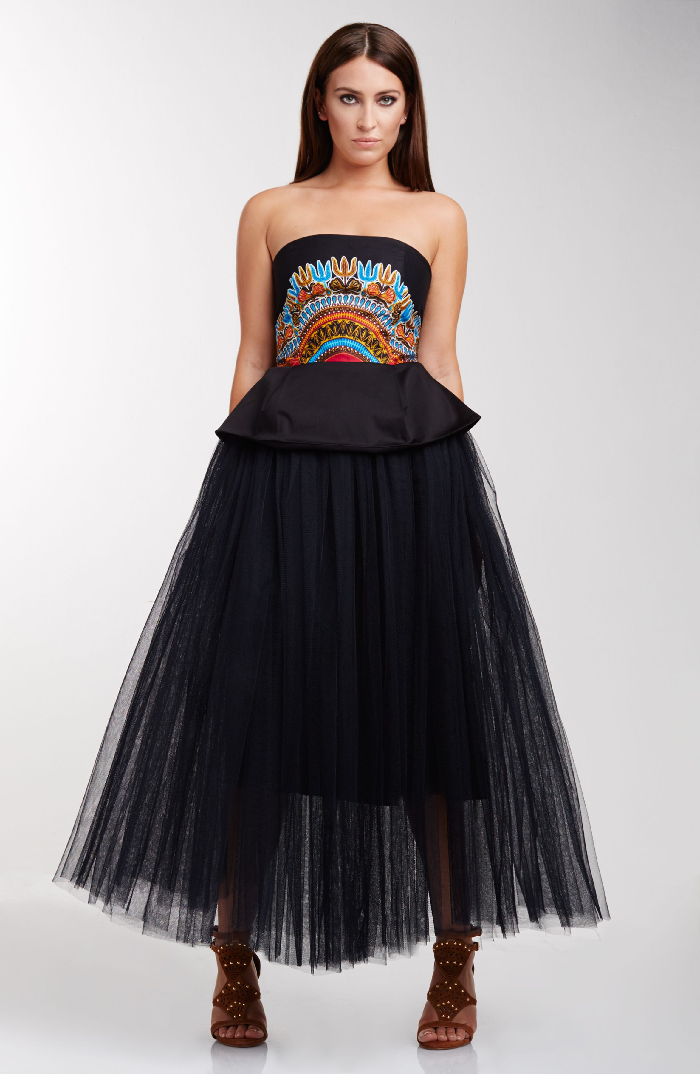 c93abee486 MISHANTY Afircan Inspired Fashion Angelina Bustier Top Black Mesh Tulle  Skirt