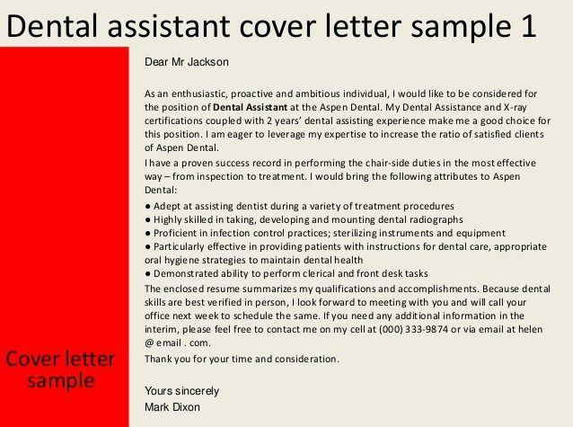 Dental-Assistant-Cover-Letter-Samplejpg 638×475 pixels Career - sample employment cover letter template