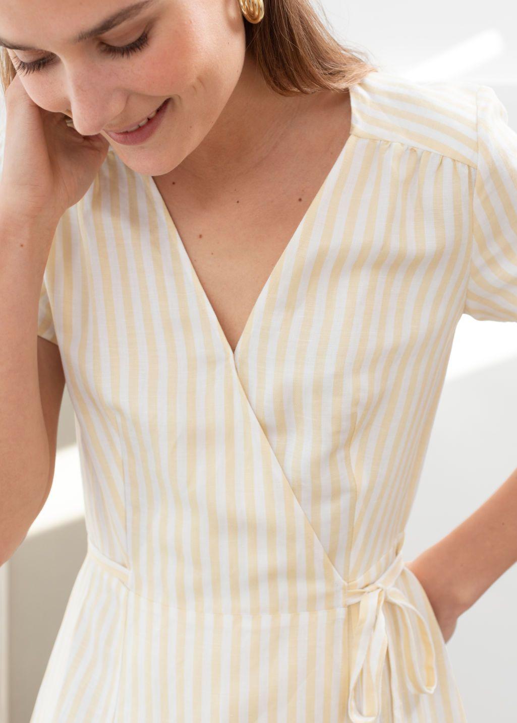 Striped Linen Blend Wrap Dress Stripe Wrap Dresses Other Stories Wrap Dress Womens Linen Clothing Gowns Of Elegance [ 1435 x 1025 Pixel ]