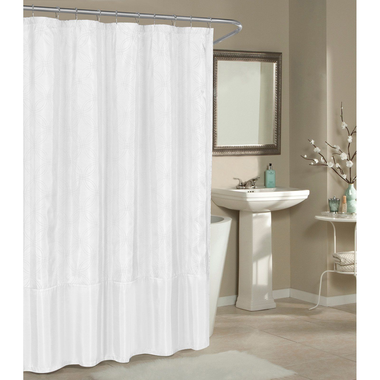 Duck River Belle Shower Curtain White Silver Shower Curtain