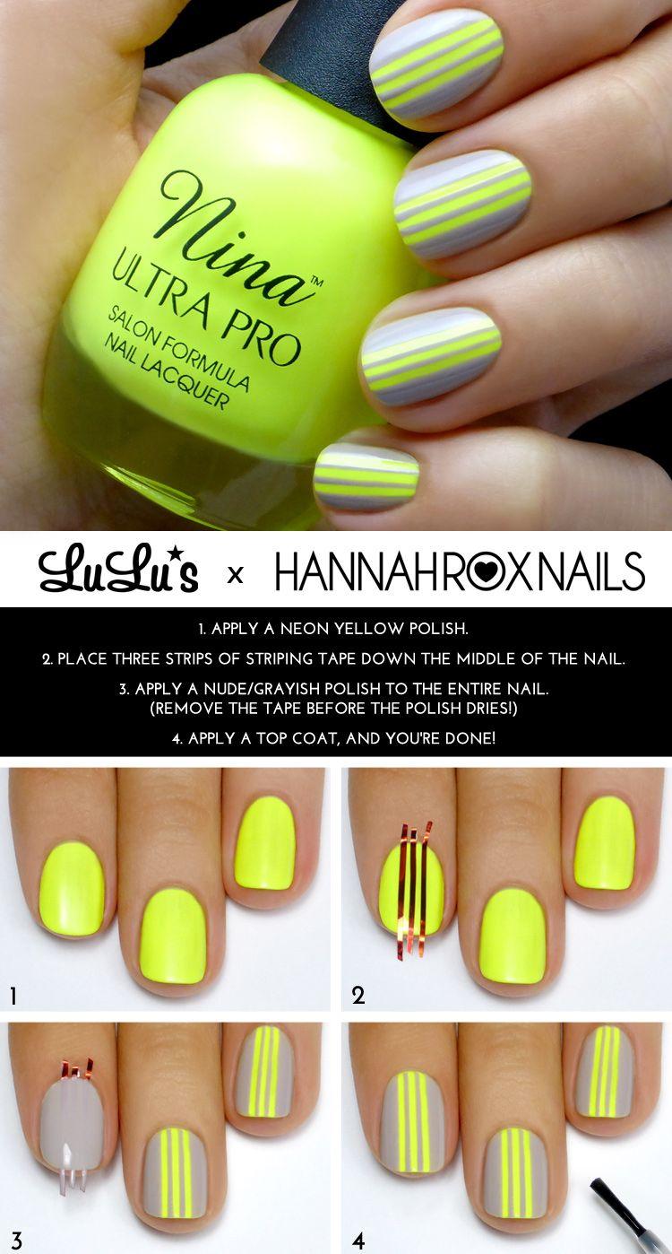 DIY Gray and Neon Yellow Striped Mani Tutorial fashion kiss colorful ...