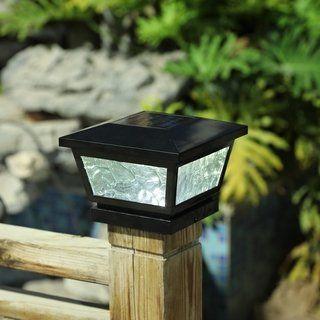 Solar Adjustable Post Cap Light Black Glass Post Cap Fence Post Caps Outdoor Lighting Store