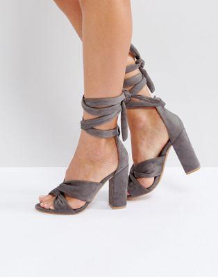 956eda8a6c6 Glamorous Knot Tie Up Block Heeled Sandals