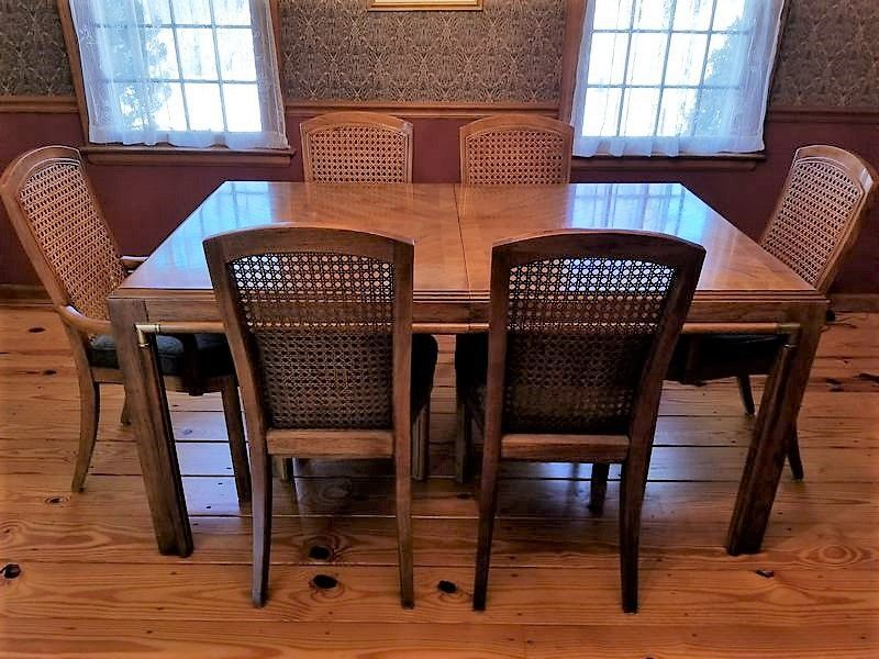 Custom Table Pads For Dining Room Tables Drexel Dining Table With Six Chairs Two Inserts And Custom Pads