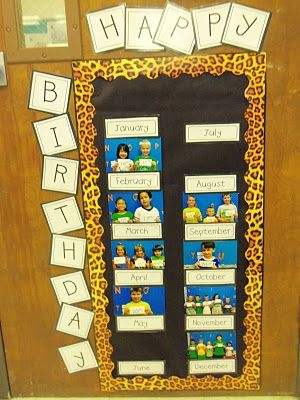 Birthday board--take student's pic. with the day classroom